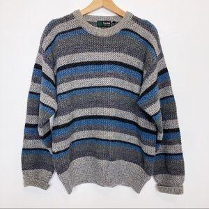 Vintage Italian dad sweater blue grey stripe wool